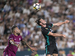 July 26, 2017 - Los Angeles, California, U.S - Gareth Bale #11 of Real Madrid heads the ball during their International Champions Cup game with Manchester City at the Los Angeles Memorial Coliseum in Los Angeles, California on Wednesday July 26, 2017. Manchester City defeats Real Madrid, 4-1. (Credit Image: © Prensa Internacional via ZUMA Wire)