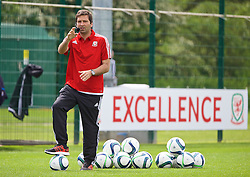 NEWPORT, WALES - Sunday, May 22, 2016: João Talhão gives a practical demonstration during the Football Association of Wales' National Coaches Conference 2016 at Dragon Park FAW National Development Centre. (Pic by David Rawcliffe/Propaganda)