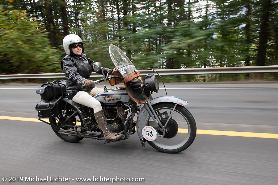 Kersten Heling on her 1922 Harley-Davidson model J (not quite as fast as her top fuel dragster she has been racing for more than 20 years!) on the Motorcycle Cannonball coast to coast vintage run. Stage 15  (51 miles - the Grand Finish) from The Dalles to Stevenson, OR. Sunday September 23, 2018. Photography ©2018 Michael Lichter.