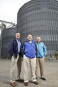 SHOT 10/29/18 9:50:14 AM - Sunrise Cooperative is a leading agricultural and energy cooperative based in Fremont, Ohio with members spanning from the Ohio River to Lake Erie. Sunrise is 100-percent farmer-owned and was formed through the merger of Trupointe Cooperative and Sunrise Cooperative on September 1, 2016. Photographed at the Clyde, Ohio grain elevator was George D. Secor President / CEO and John Lowry<br /> Chairman of the Board of Directors with  CoBank RM Gary Weidenborner. (Photo by Marc Piscotty © 2018)