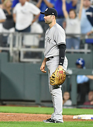 May 18, 2018 - Kansas City, Missouri, U.S. - KANSAS Kansas City, MO - MAY 18:  New York Yankees relief pitcher David Robertson (30) watches Kansas City Royals catcher Salvador Perez (13) take second after hitting a double during a Major League Baseball game between the New York Yankees and the Kansas City Royals on May 18, 2018, at Kauffman Stadium, Kansas City, MO. Kansas City won, 5-2.  (Photo by Keith Gillett/Icon Sportswire) (Credit Image: © Keith Gillett/Icon SMI via ZUMA Press)
