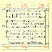 I saw Three Ships Come Sailing by From the Book '  The baby's opera : a book of old rhymes, with new dresses by Walter Crane, and Edmund Evans Publishes in London and New York by F. Warne and co. in 1900