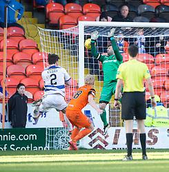 Morton's Lee Kilday (2) scoring their goal. half time : Dundee United 0 v 1 Morton, Scottish Championship game played 25/2/2017 at Tannadice Park.