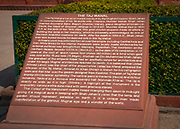 The Taj Mahal description sign at the entrance to the site