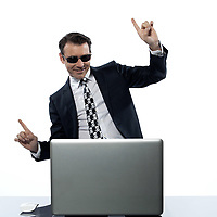 man computer hacker satisfied caucasian in studio isolated on white background