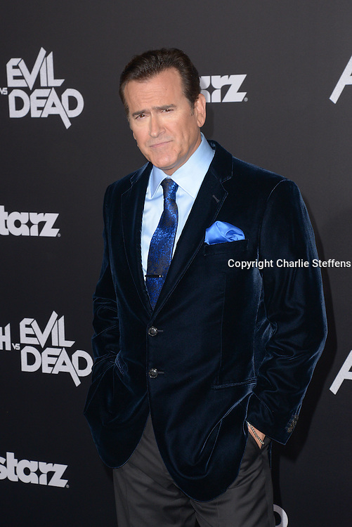 """Bruce Campbell attends the Los Angeles premiere of """"Ash Vs Evil Dead' on October 28, 2015, at the TCL Chinese Theatre in Hollywood. (Photo by: Charlie Steffens)"""