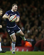 Stuart Hogg of Scotland in action. Wales v Scotland, NatWest 6 nations 2018 championship match at the Principality Stadium in Cardiff , South Wales on Saturday 3rd February 2018.<br /> pic by Andrew Orchard, Andrew Orchard sports photography