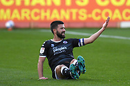 Crawley Town midfielder George Francomb (4) appeals to the referee during the EFL Sky Bet League 2 match between Cheltenham Town and Crawley Town at Jonny Rocks Stadium, Cheltenham, England on 10 October 2020.