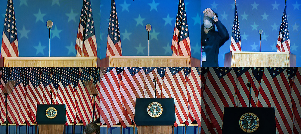 BELGIUM, Brussels. 4/11/2020: Podiums of Joe Biden and Donald Trum during the presidential elections in the USA as seen on television.