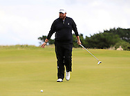 Shane Lowry on the 2nd green with the GUI National panel players who are taking part in the Walker cup next week practicing with Neil Manchip and Tony Goode at Portmarnock on Wednesday 2nd September 2015.<br /> Picture:  Thos Caffrey / www.golffile.ie