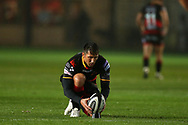 Gavin Henson of the Dragons prepares to kick a penalty. Guinness Pro14 rugby match, Dragons v Southern Kings at Rodney Parade in Newport, South Wales on Saturday 30th September 2017.<br /> pic by Andrew Orchard, Andrew Orchard sports photography.