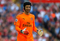 Arsenal s Petr Cech watches on during the premier league match at Anfield Stadium, Liverpool. Picture date 27th August 2017. <br /> <br /> Norway only
