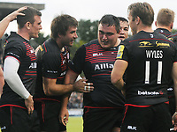Rugby Union - 2017 / 2018 Aviva Premiership - Saracens vs. Wasps<br /> <br /> Jamie George of Saracens celebrates he second of his push over tries in the second half at Allianz Park.<br /> <br /> COLORSPORT/ANDREW COWIE