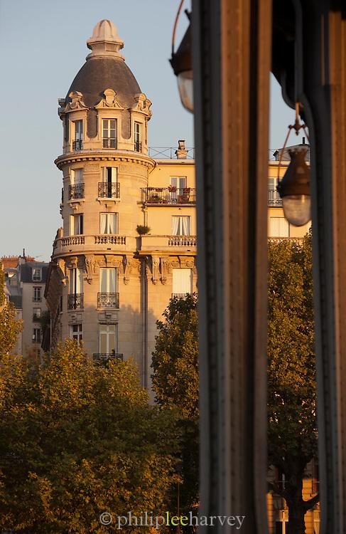 Iconic Haussmann architecture at dawn in Paris, France