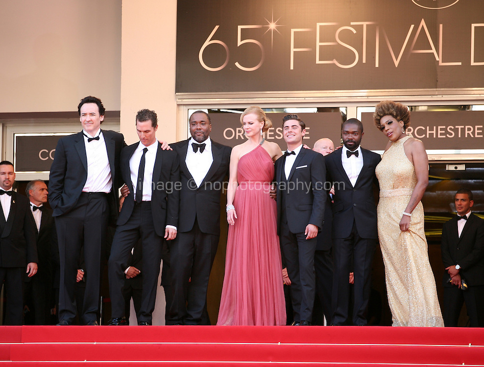 John Cusack, Matthew Mcconaughey, Lee Daniels, Nicole Kidman, Zac Efron, David Oyelowo, Macy Gray on the red steps at The Paperboy gala screening red carpet at the 65th Cannes Film Festival France. Thursday 24th May 2012 in Cannes Film Festival, France.
