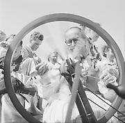 Spinning wheel demonstration Finland 1950s