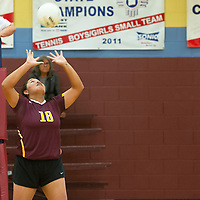Ashley Skeets sets the ball for Rehoboth against Red Mesa in pool play Tuesday, Sept. 10 at Rehoboth Christian School's volleyball tournament.
