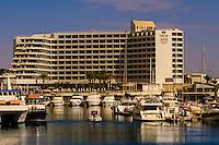 Marina and hotels along the lagoon, Eilat, Israel.
