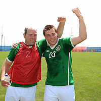 2 July 2011; Team Ireland's Colm Brennan, Kilbarry, Waterford, and Michael Neville, Sixmilebridge, Co. Clare, celebrate winning the Silver Medal after a 1-1 draw with Special Olympics Great Britain at the Apilion Panionios Training Center. 2011 Special Olympics World Summer Games, Athens, Greece. Picture credit: Ray McManus / SPORTSFILE *** NO REPRODUCTION FEE ***