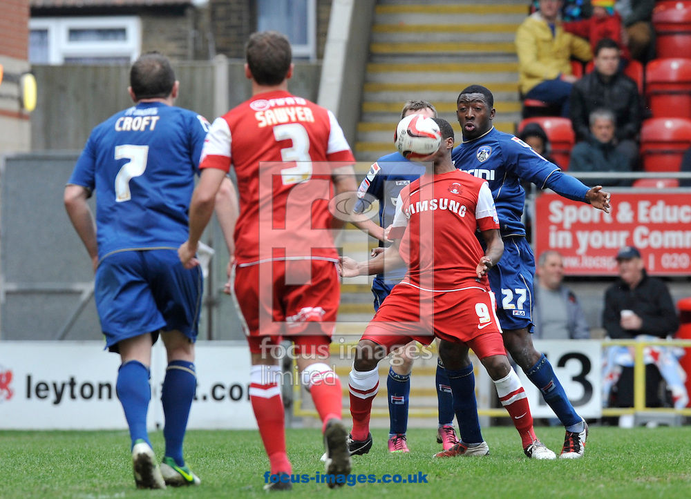 Picture by Alan Stanford/Focus Images Ltd +44 7915 056117.27/04/2013.Kevin Lisbie of Leyton Orient holds up the ball from Glenn Belezika of Oldham Athletic during the npower League 1 match at the Matchroom Stadium, London.. .