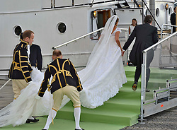 Princess Madeleine of Sweden and Christopher O'Neill depart for the travel by boat to Drottningholm Palace for dinner after the wedding ceremony of Princess Madeleine of Sweden and Christopher O'Neill hosted by King Carl Gustaf XIV and Queen Silvia at The Royal Palace in Stockholm, Sweden, June 8, 2013 . Photo by Schneider-Press / i-Images. .UK & USA ONLY