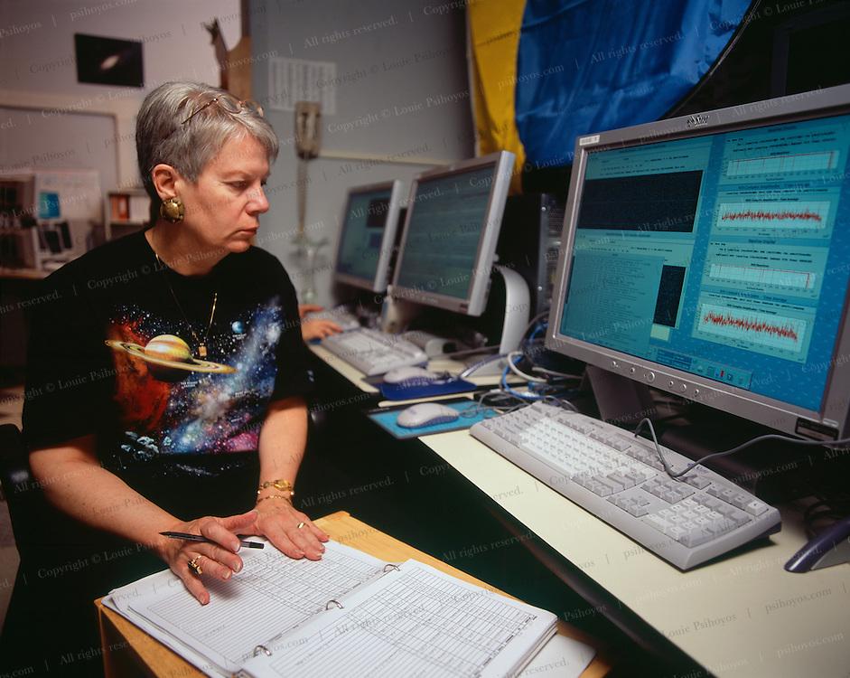 Dr. Jill Tarter, SETI Institute scientist observing in the Control Room.