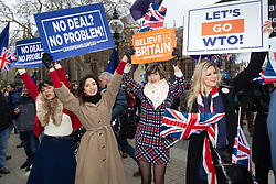 A group of pro-Brexit women protesting outside Parliament in London express that they are happy to leave the EU without a deal. London, January 15 2019.