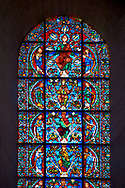 Medieval stained glass Window of the Gothic Cathedral of Chartres, France - dedicated to The Tree of Jesse (12th century). Botton row of panels - Moses / Generic King of Israel / Balaam, row above - Samuel / Generic King of Israel / Amos, row above - Zacchariah / The Virgin Mary / Daniel, top row - Habakkuk / Christ with the Seven Gifts of the Spirit / Zephaniah. A UNESCO World Heritage Site.. .<br /> <br /> Visit our MEDIEVAL ART PHOTO COLLECTIONS for more   photos  to download or buy as prints https://funkystock.photoshelter.com/gallery-collection/Medieval-Middle-Ages-Art-Artefacts-Antiquities-Pictures-Images-of/C0000YpKXiAHnG2k