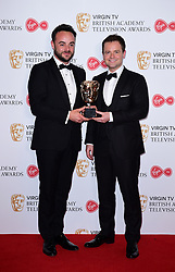 Ant McPartlin and Declan Donnelly with the award for Best Live Event in the press room at the Virgin TV British Academy Television Awards 2017 held at Festival Hall at Southbank Centre, London. PRESS ASSOCIATION Photo. Picture date: Sunday May 14, 2017. See PA story SHOWBIZ Bafta. Photo credit should read: Ian West/PA Wire