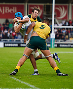 England No.8 Zach Mercer is stopped short of the try line by Australia second-row Lukhan Lealaiaulolo-Tui during the World Rugby U20 Championship  match England U20 -V- Australia U20 at The AJ Bell Stadium, Salford, Greater Manchester, England on June  15  2016, (Steve Flynn/Image of Sport)