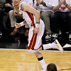 Jun 21, 2012; Miami, FL, USA; Miami Heat shooting guard Mike Miller (13) reacts after hitting a three pointer against the Oklahoma City Thunder during the second quarter in game five in the 2012 NBA Finals at the American Airlines Arena. Mandatory Credit: Derick E. Hingle-US PRESSWIRE