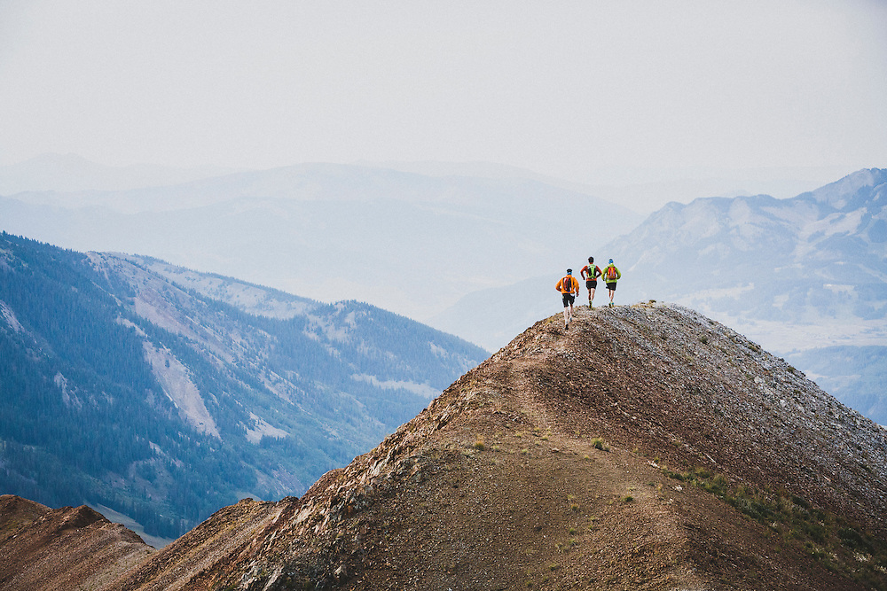 Team Crested Butte running the ridge on Mount Bellview, Elk Range, Colorado.