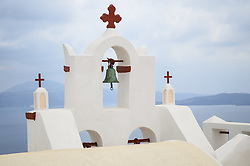June 8, 2015 - Traditional white bell tower of church on the island of Santorini, Greece. (Credit Image: © Mint Images via ZUMA Wire)
