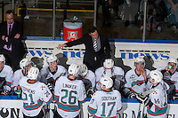 KELOWNA, CANADA - MARCH 26: Brad Ralph, head coach of the Kelowna Rockets stands on the bench against the Kamloops Blazers on March 26, 2016 at Prospera Place in Kelowna, British Columbia, Canada.  (Photo by Marissa Baecker/Shoot the Breeze)  *** Local Caption *** Brad Ralph;