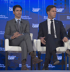 September 20, 2017 - New York City, NY, United States - Canadian Prime Minister Justin Trudeau sits next to Dutch Prime Minister Mark Rutte as they participate in a panel discussion at the Bloomberg Global Business Forum in New York City, Wednesday, September 20, 2017. THE CANADIAN PRESS/Adrian Wyld (Credit Image: © Adrian Wyld/The Canadian Press via ZUMA Press)
