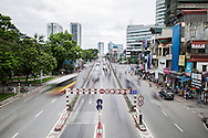 Long exposure of a busy main road in Dong Da District in Hanoi, Vietnam, Southeast Asia