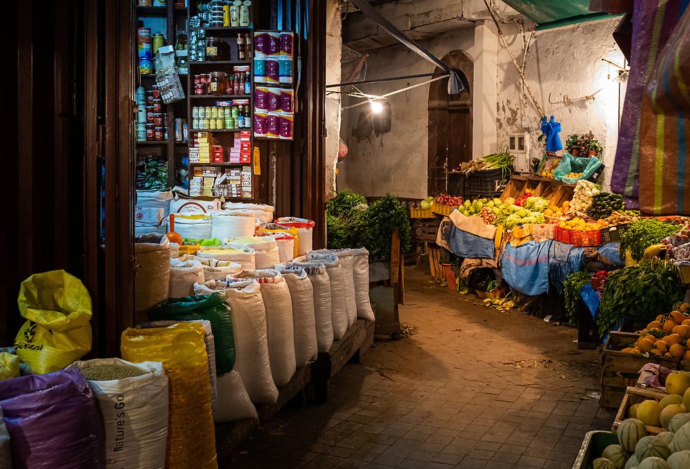 CASABLANCA, MOROCCO - CIRCA APRIL 2018: Narrow street and market of tje Medina in Casablanca.