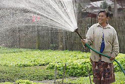 Grandma Oaun <br />Ekxang Village, Phonhong District, Vientiane Province<br /><br />•Organic farm for household consumption and sell<br />•Crops: lettuce, morning glory, inion, mint, and others<br />•Middle man purchases the produce at the garden<br />•Income: 2 to 3 million kip a year<br />•Water source: well, with electric pump, constructed 3 years ago<br />•Number of wells: 1