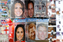 © Licensed to London News Pictures. 11/05/2018. WINDSOR, UK. Face masks featuring Meghan Markle and her soon to be husband and in-laws on display outside a souvenir shop as preparations continue in Windsor for the upcoming wedding between Prince Harry and Meghan Markle on 19 May.  Thousands of people are expected to visit the town for what has been billed as the wedding of the year.  Photo credit: Stephen Chung/LNP