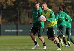 27.10.2011, Trainingsgelaende, Bremen, GER, 1.FBL, Training Werder Bremen, im Bild Clemens Fritz (Bremen #8), Marko Arnautovic (Bremen #7, mit Ball)..// during training session of Werder Bremen on 2011/10/27, Trainingsgelaende, Bremen, Germany..EXPA Pictures © 2011, PhotoCredit: EXPA/ nph/  Frisch       ****** out of GER / CRO  / BEL ******