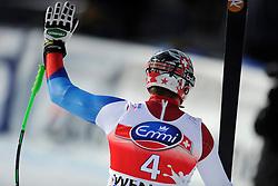 19.01.2013, Lauberhornabfahrt, Wengen, SUI, FIS Weltcup Ski Alpin, Abfahrt, Herren, im Bild Silvan Zurbriggen (SUI) im Ziel // reacts after his run of mens downhillrace of FIS Ski Alpine World Cup at the Lauberhorn downhill course, Wengen, Switzerland on 2013/01/19. EXPA Pictures © 2013, PhotoCredit: EXPA/ Freshfocus/ Urs Lindt..***** ATTENTION - for AUT, SLO, CRO, SRB, BIH only *****