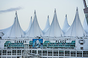 Canada Place waterfront buildings, Vancouver Harbour, Vancouver, British Columbia, Canada.