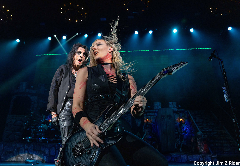 NITA STRAUSS, vocals and guitar, performs with ALICE  COOPER. After nearly 19 months off stage, Rock and Roll legend COOPER, 73, launched his fall 2021 tour at Ocean Casino Resort in Atlantic City, New Jersey.