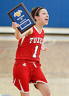 Tuxedo's Corianna DeLisa (1) celebrates after her team defeated Chester in the Section 9 Class C girls' basketball championship game at SUNY New Paltz on Friday, March 1, 2013.