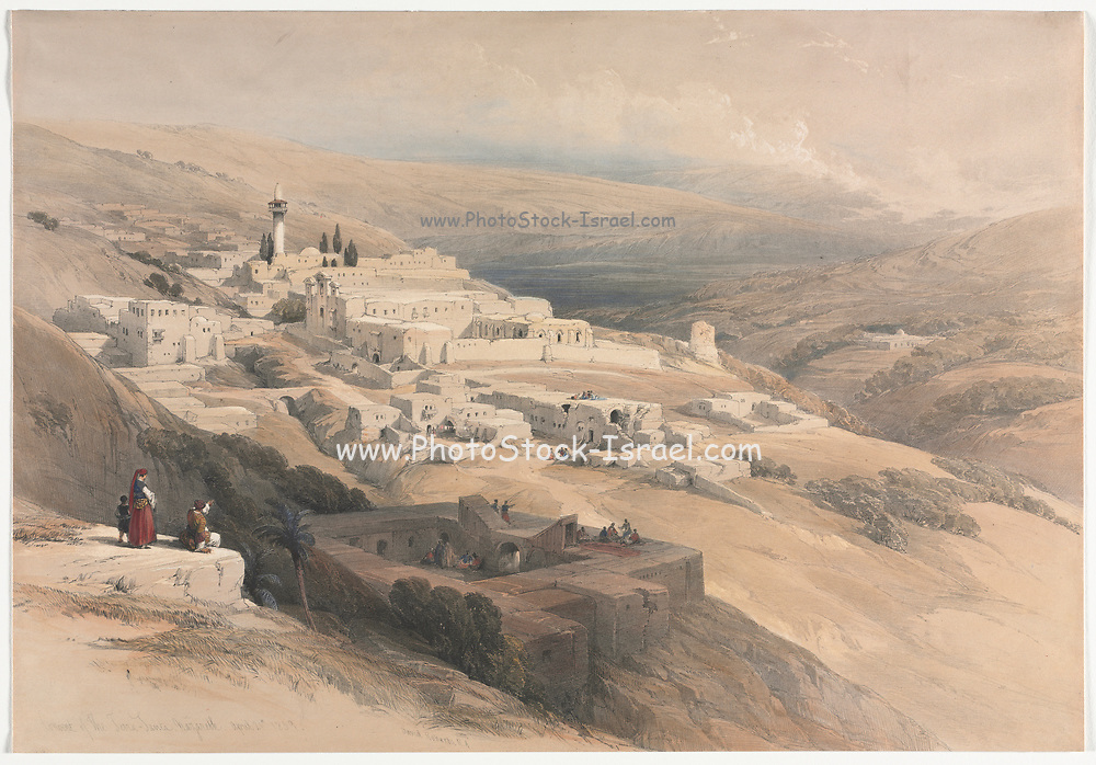 Convent of the Terra-Santa, Nazareth Color lithograph by David Roberts (1796-1864). An engraving reprint by Louis Haghe was published in a the book 'The Holy Land, Syria, Idumea, Arabia, Egypt and Nubia. in 1855 by D. Appleton & Co., 346 & 348 Broadway in New York.