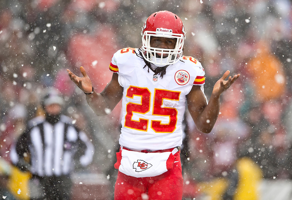 Kansas City Chiefs running back Jamaal Charles (25) sheepishly shrugged after his first touchdown in the first quarter against the Washington Redskins in NFL action on December 8, 2013 at Fed Ex Field in Landover, Md. The Chiefs won 45-10.