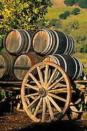 Wagon and Wine Barrels at sunset, Jepson Vineyards,near Ukiah, Mendocino County, California