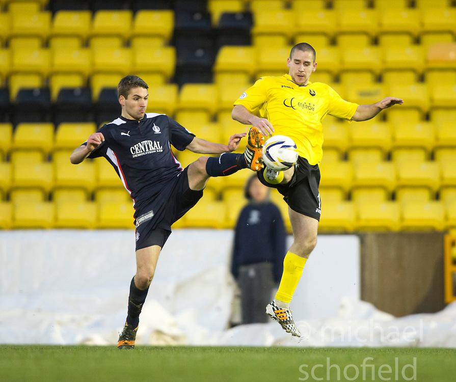 Falkirk's Luke Leahy and  Livingston Gary Glen.<br /> Half time : Livingston 0 v 1 Falkirk, Scottish Championship played13/12/2014 at The Energy Assets Arena.
