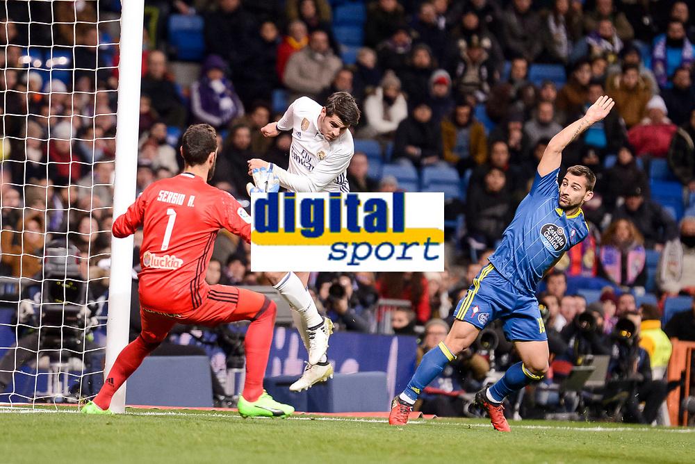 "Real Madrid's Alvaro Morata and Celta de Vigo's Sergio Alvarez and Jonathan Castro ""Jonny"" during Copa del Rey match between Real Madrid and Celta de Vigo at Santiago Bernabeu Stadium in Madrid, Spain. January 18, 2017. (ALTERPHOTOS/BorjaB.Hojas)"