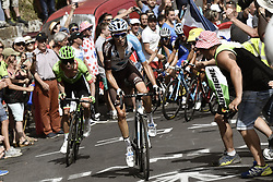 July 16, 2017 - Puy En Velay, France - LE PUY-EN-VELAY, FRANCE - JULY 16 : BARDET Romain (FRA) Rider of Team AG2R La Mondiale and URAN URAN Rigoberto (COL) Rider of Cannondale - Drapac team attacking during stage 15 of the 104th edition of the 2017 Tour de France cycling race, a stage of 189.5 kms between Laissac-Severac l'Eglise and Le Puy-En-Velay on July 16, 2017 in Le Puy-En-Velay, France, 16/07/2017 (Credit Image: © Panoramic via ZUMA Press)